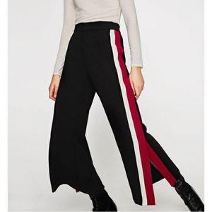 Zara Wide Leg Side Slit Double Stripe Trouser Pant